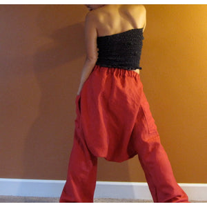 linen low crotch chipmunk pants made to order