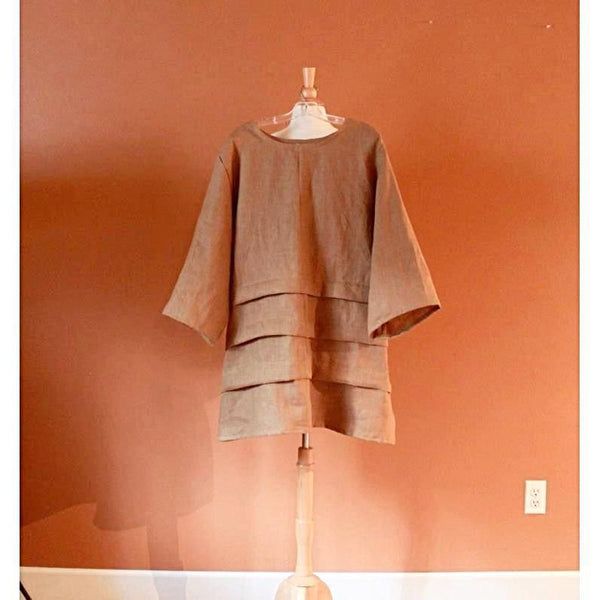 custom plus size  three pleats  linen tunic - linen clothing by anny