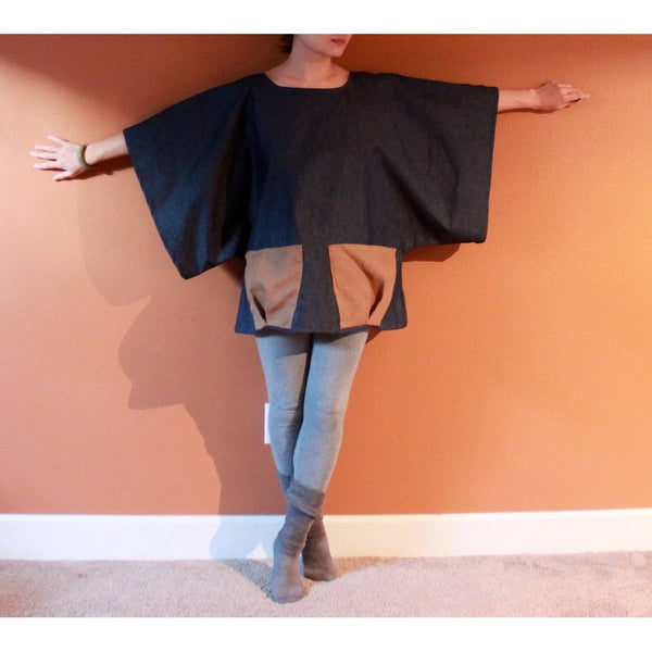 stretchy denim wide kimono sleeve top with big linen pockets made to order-top-linen clothing by anny