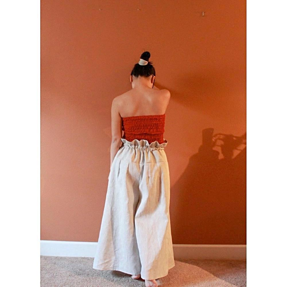 custom drawstring wide leg linen pants-linen clothing by anny