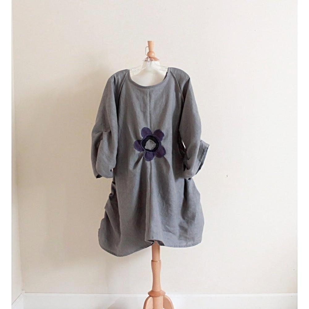 custom plus size flower fold gray linen dress-dress-linen clothing by anny
