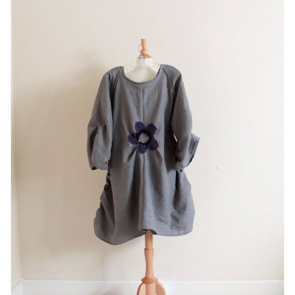 custom plus size flower fold gray linen tunic length dress-dress-linen clothing by anny