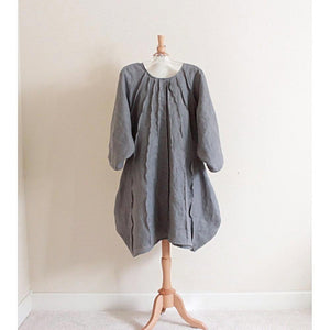 custom pleated vase linen dress-dress-linen clothing by anny