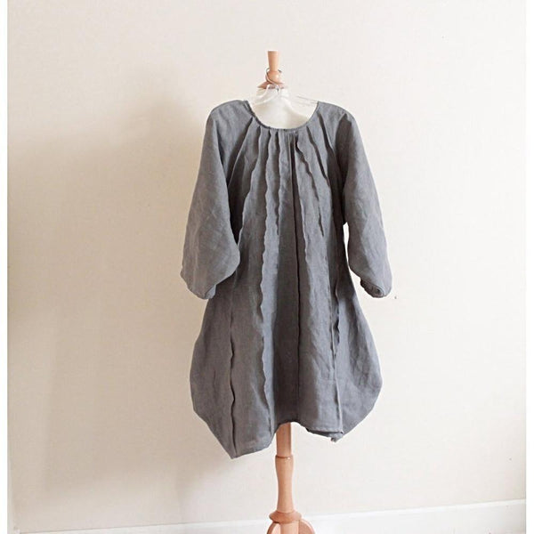 plus size pleated vase linen dress made to order-dress-linen clothing by anny