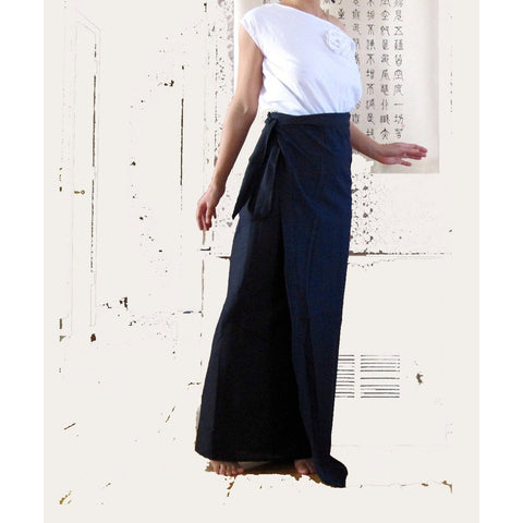 Asian Wrap long skirt in black made to order