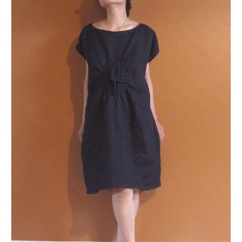 custom SMOCKED TWIRL linen tunic dress-linen clothing by anny