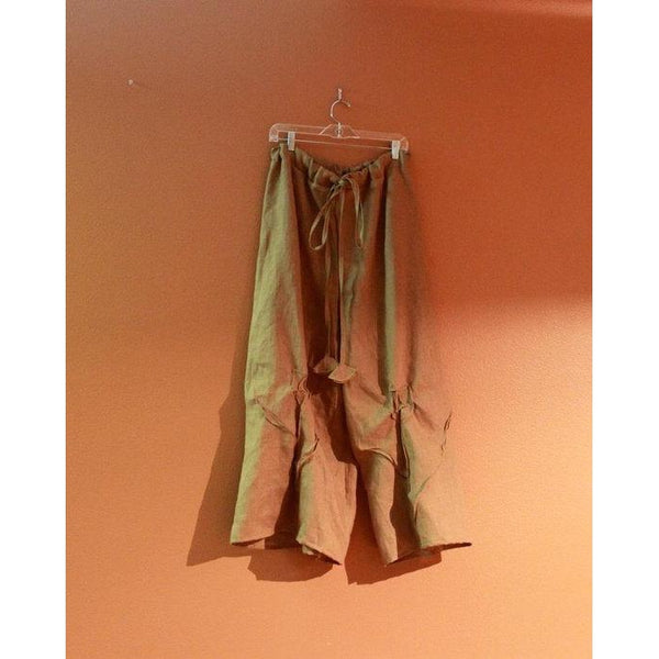 custom drawstring linen rose tucks wide leg pants