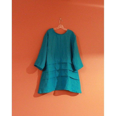 custom plus size linen tunic length top with three pleats