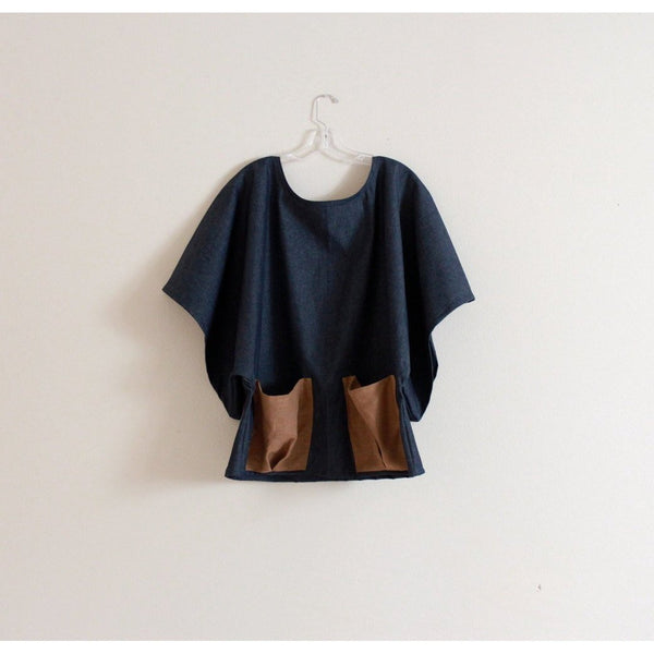 sold out / stretchy denim wide kimono sleeve top with big linen pockets made to order - linen clothing by anny