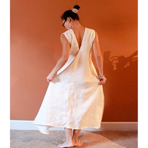custom V shaped neck linen sleeveless flying swallow long dress-linen clothing by anny