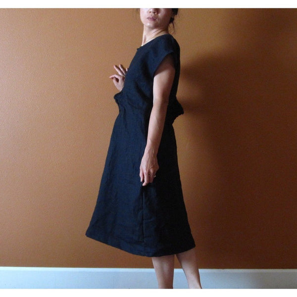 custom SMOCKED TWIRL linen tunic dress - linen clothing by anny
