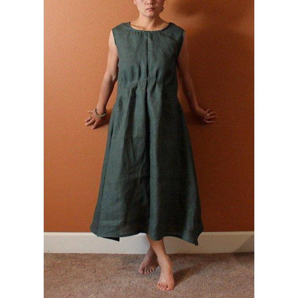 custom piano fold indie women linen dress - linen clothing by anny