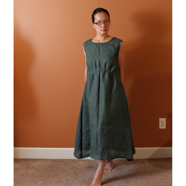 custom piano fold indie women linen dress-linen clothing by anny
