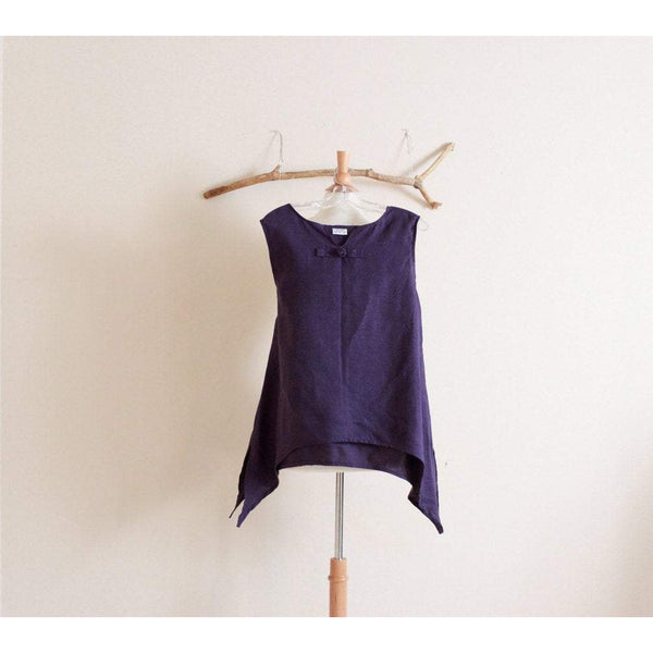 custom sleeveless swallow side splits top - linen clothing by anny