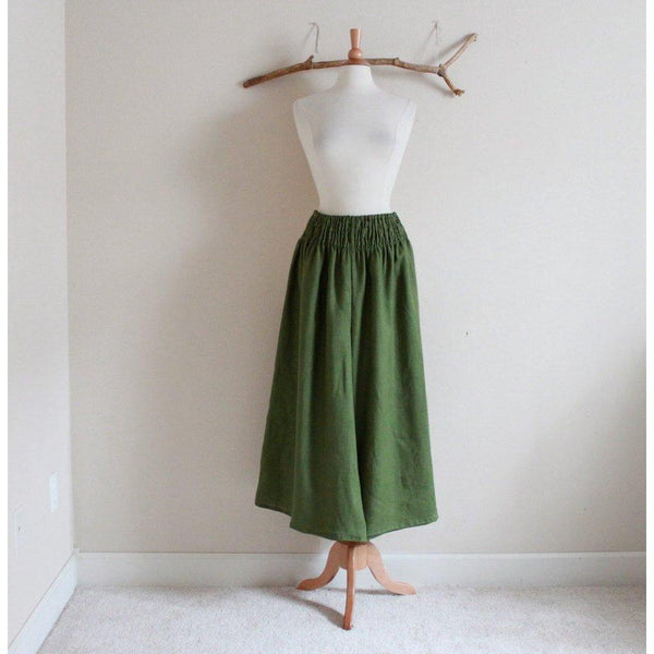 custom linen shirred waist wide leg pants - linen clothing by anny