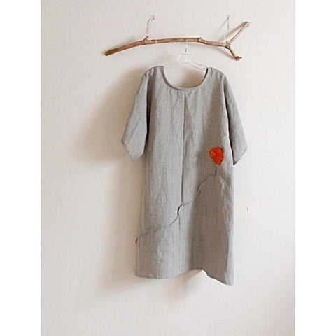 custom plus size natural linen dress with orange pleated flowers-dress-linen clothing by anny
