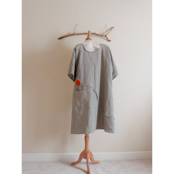 custom plus size natural linen dress with orange pleated flowers