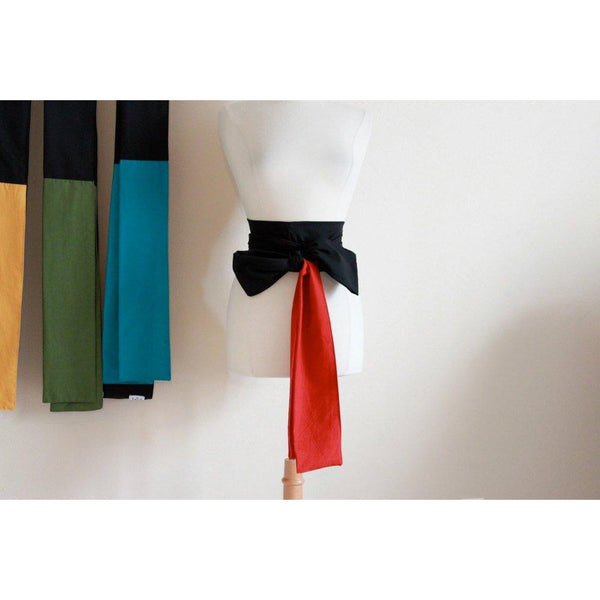 made to order color block cotton obi / four colors available / red green teal yellow black obi / dual color cotton obi / Japanese obi sash /