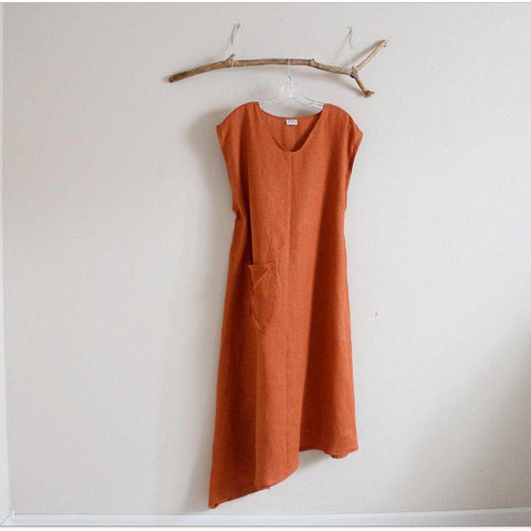 custom calla lily asymmetrical linen dress with a pocket