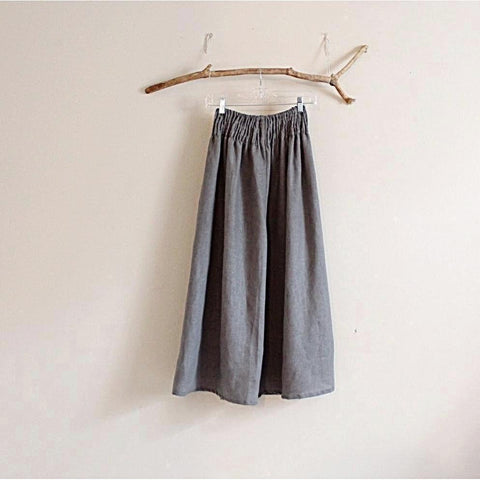 plus size custom linen shirred waist wide leg pants - linen clothing by anny