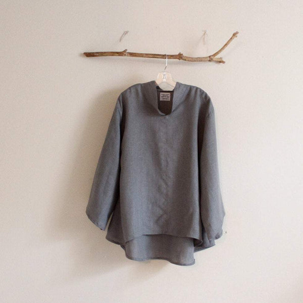 minimalist Asian linen blouse