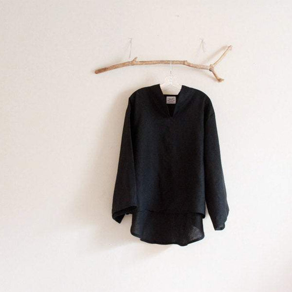 black linen blouse
