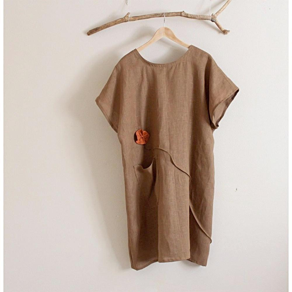 custom linen tunic dress with soots and flowers - linen clothing by anny