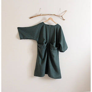 custom folds kimono sleeve eco linen dress - linen clothing by anny