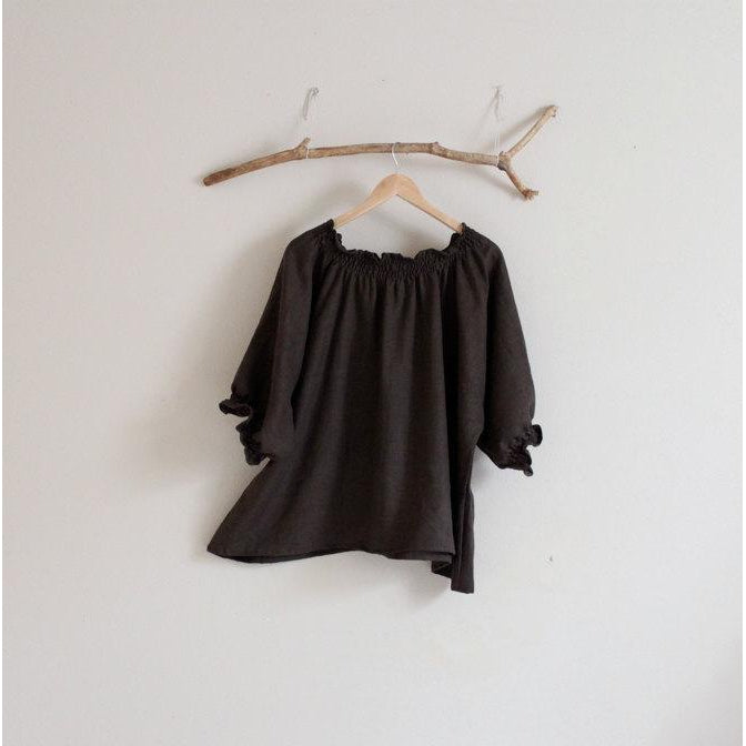 oversized  shirring linen top made to order