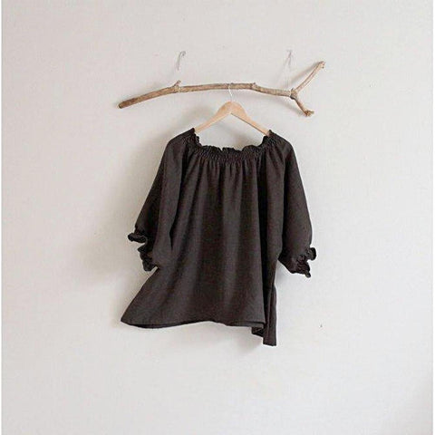 oversized shirring linen top made to order-top-linen clothing by anny