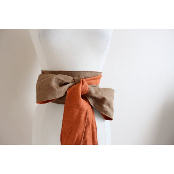 dual tone linen slim obi sash made to order - linen clothing by anny