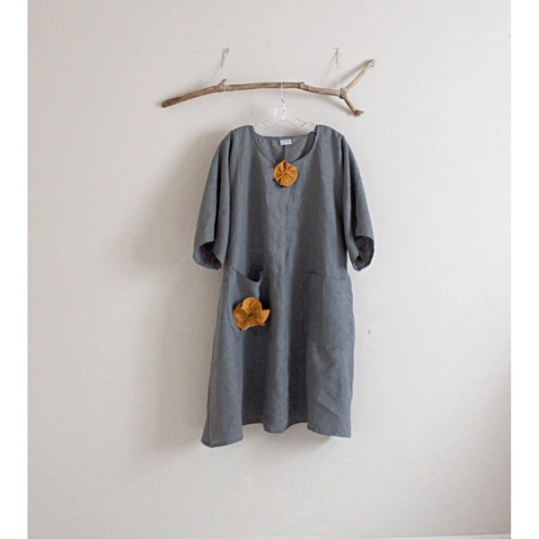 handmade  plus size gray linen with autumn gold flowers dress
