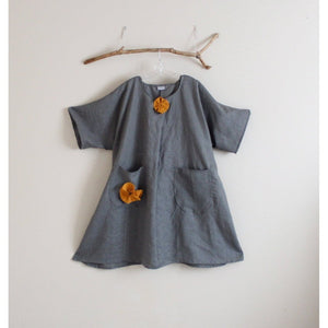 custom plus size gray linen with autumn gold flowers dress