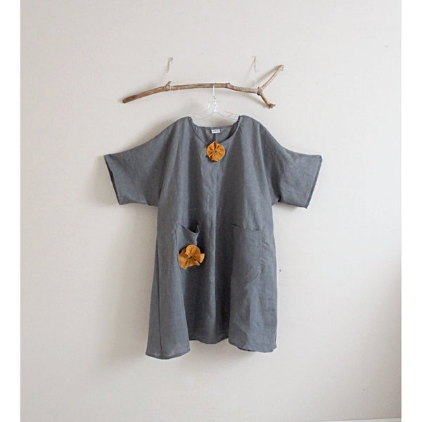 plus size gray linen with autumn gold flowers dress