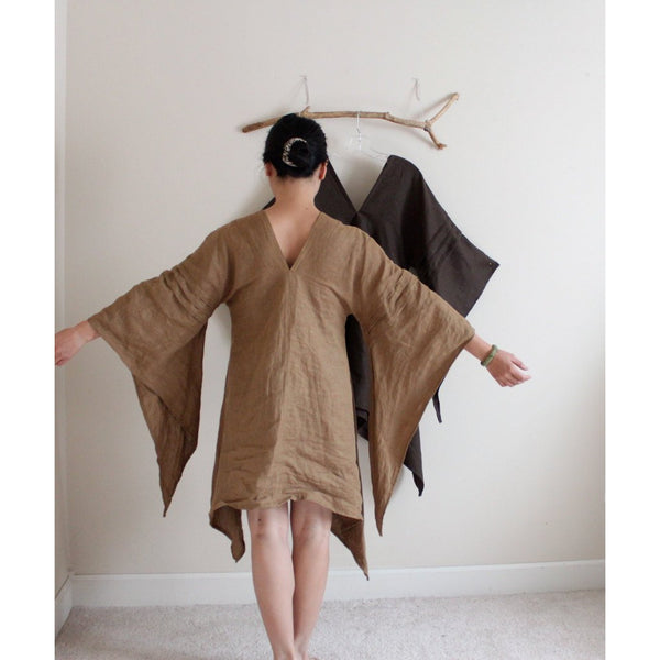 custom three pleats linen swallow tunic length linen dress