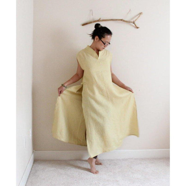 custom sleeveless linen ao dai robe dress - linen clothing by anny