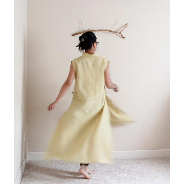 custom sleeveless linen ao dai robe dress