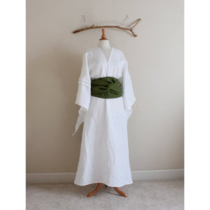 custom linen swallow dress with wide obi - linen clothing by anny