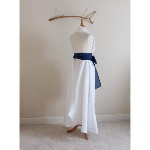 custom white linen chic halter long dress-linen clothing by anny