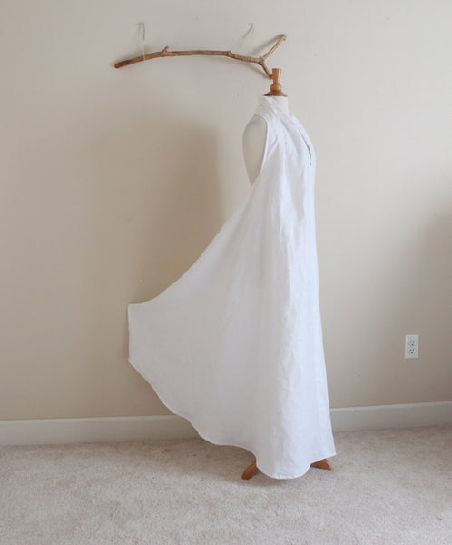 custom white linen chic halter long dress