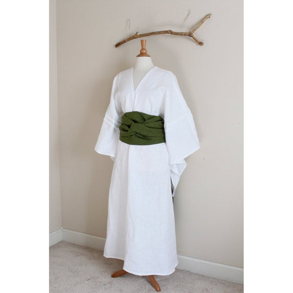 custom linen swallow dress with wide obi-linen clothing by anny