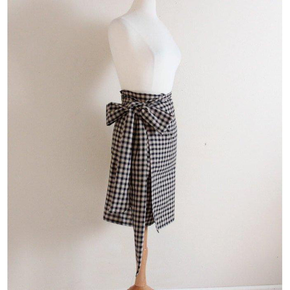 simple wrap plaid cotton skirt with wide obi wrap at waist - linen clothing by anny