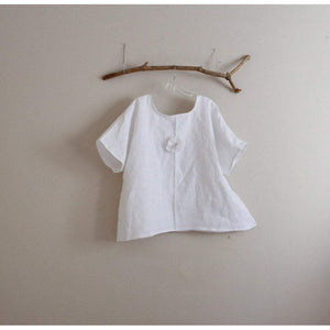 custom eco linen wavy top with pleated flower