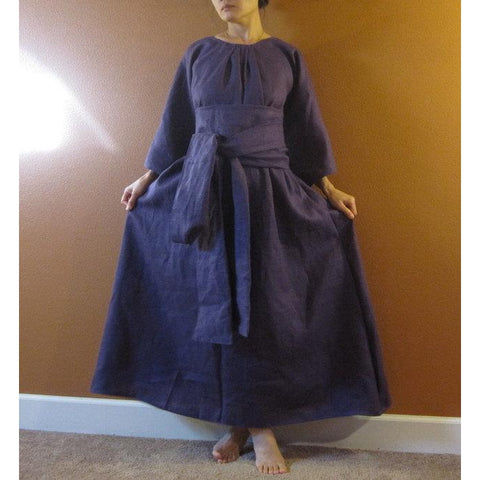 custom linen pleated obi dress
