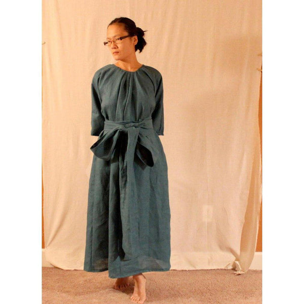 custom linen pleated obi dress - linen clothing by anny