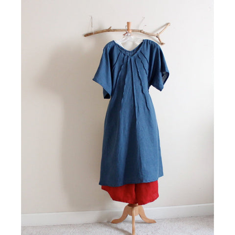 custom plus size linen seashell pleats dress