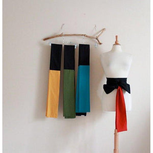 made to order color block cotton obi / four colors available / red green teal yellow black obi / dual color cotton obi / Japanese obi sash / - linen clothing by anny
