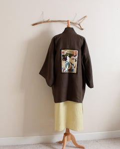 heavy linen jacket haori inspired with geisha panel made to order