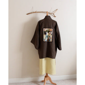 made to order geisha winter weight linen haori inspired jacket - linen clothing by anny