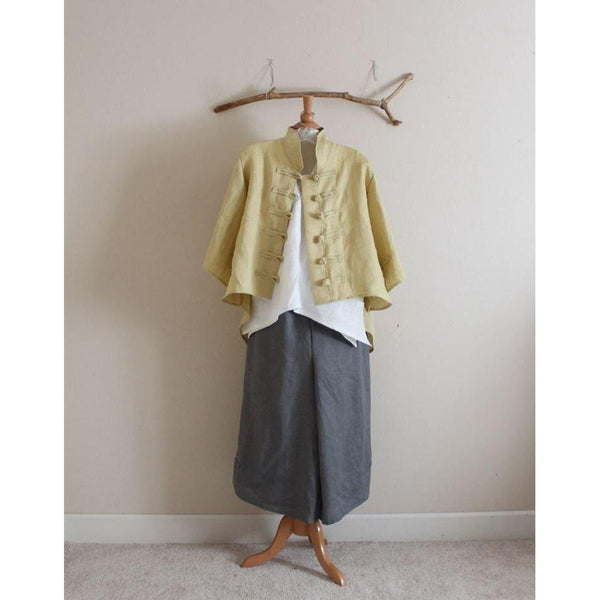 Custom linen top pants and jacket-linen outfit-linen clothing by anny
